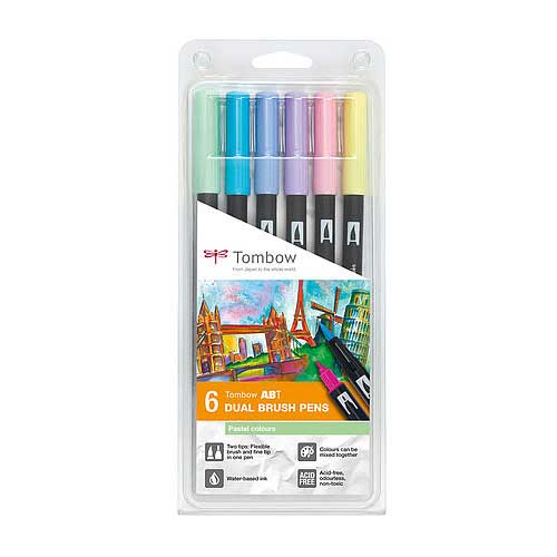 Set de 6 Dual Brush Pens Tombow Pastel Colors