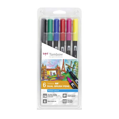 Set de 6 Dual Brush Pens Tombow Primary Colors