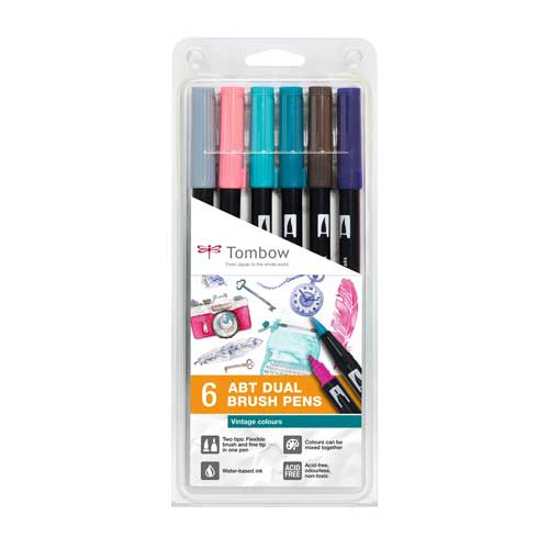 Set de 6 Dual Brush Pens Tombow Vintage Colours