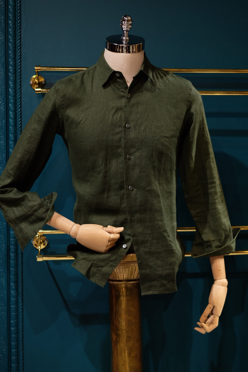 Khirzad, Perth Mens Boutique, Safari Linen Button Up Shirt, Forest Green