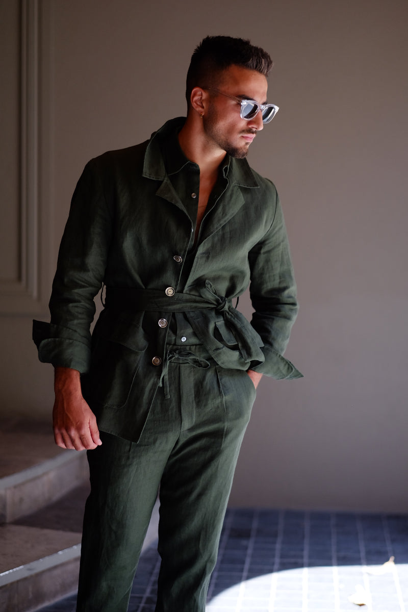 Khirzad, Perth Mens Boutique, Safari Linen Jacket, Forest Green
