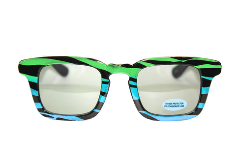 New Wave Zebra Sunglasses - OLK 15071 Green-Blue-Purple | Discount Sunglasses