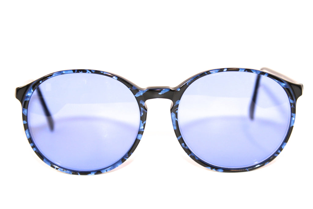 Retro Sunglasses in Round Blue Tortoise with Blue Tint