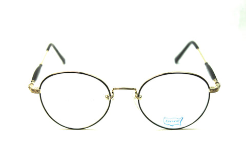 prescription eyeglasses round metal gold black 50mm front view