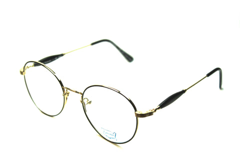prescription eyeglasses round metal 50mm gold black angle view