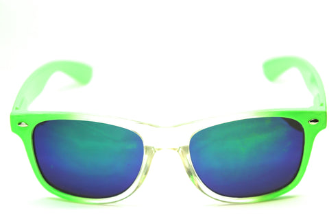 Wayfarer Sunglasses Green/Clear Mirror Coated 54mm