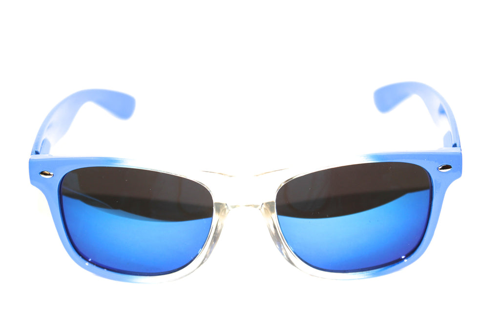 Wayfarer Style Sunglasses Blue/Clear with Mirror Coated Lenses 54mm