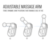 Three positions of the Booster adjustable arm massage gun
