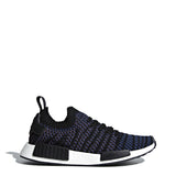 A black and some blue Adidas Originals Trainers Shoes with knitted fabric and white rubber sole by the name NMD R1
