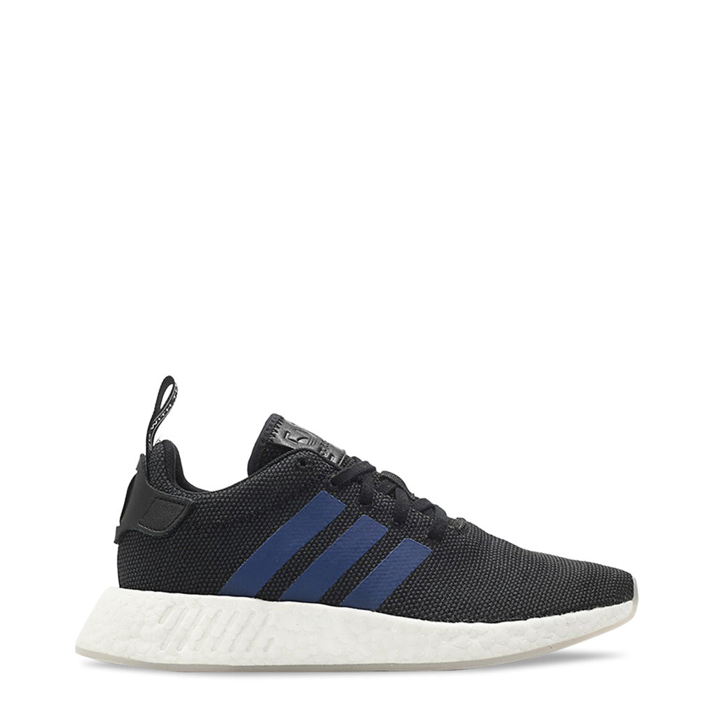 A black Adidas Originals Trainers Shoes with blue stripes on the side and white sole rubber by the name NMD r2