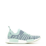 A green and blue Adidas Originals Trainers Shoes with knitted fabric and white rubber sole by the name NMD R1