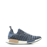 A blue Adidas Originals Trainers Shoes with knitted fabric and white rubber sole by the name NMD R1