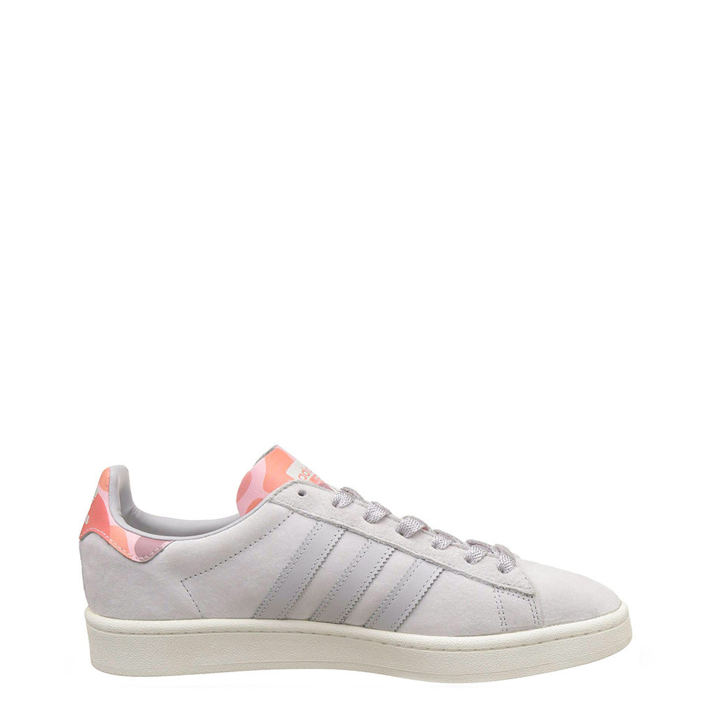 White Adidas Originals Trainers Shoes with pink details by the name Campus