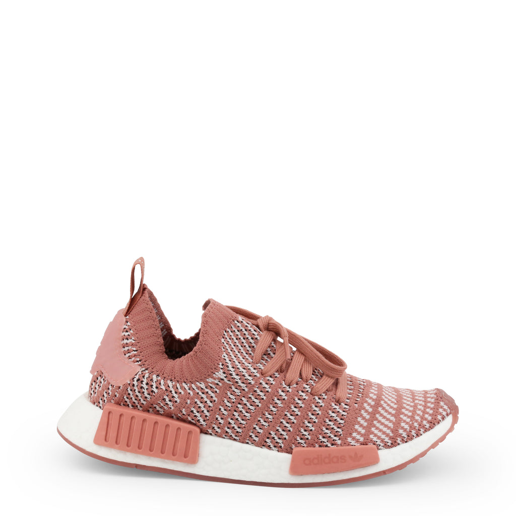 A pink Adidas Originals Trainers Shoes with knitted fabric and white rubber sole by the name NMD R1