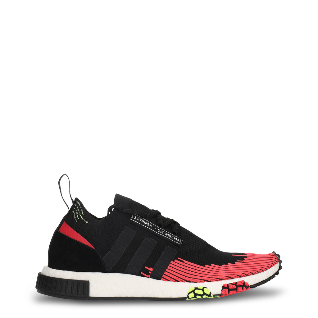 A pink and black Adidas Originals Trainers Shoes with black stripes on the side and white rubber sole by the name NMD Racer