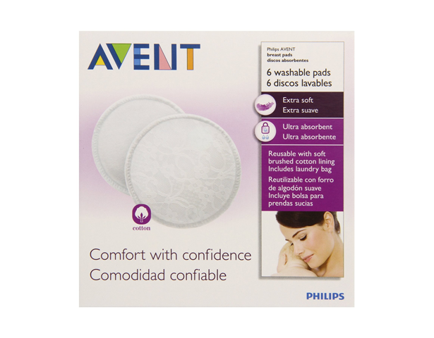 Avent Washable Breast Pads 6pk +bag