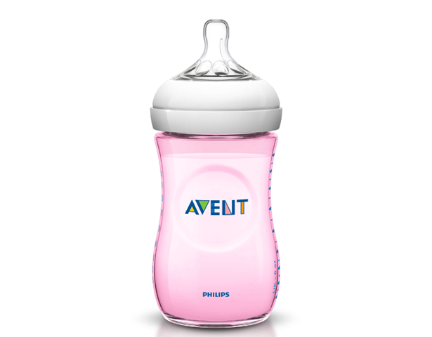 Avent Natural 260ml Feeding Bottle -Pink