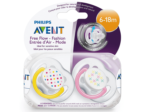 Avent 6-18 Contemp Free Flow Soother Pk2
