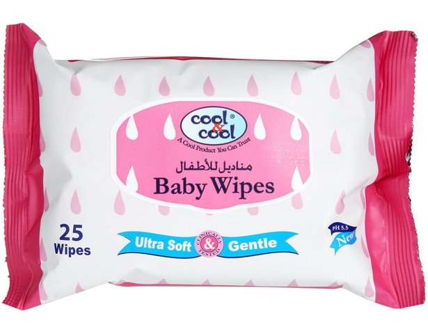 Cool & Cool BABY WIPES 25\'S (TRAVEL PACK)