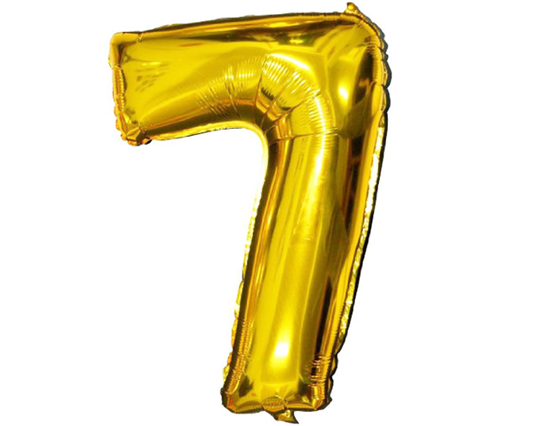 Golden Foil Balloon Number 7