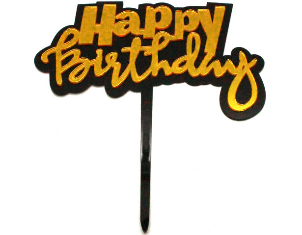 Happy Birthday Cake Topper Black Border