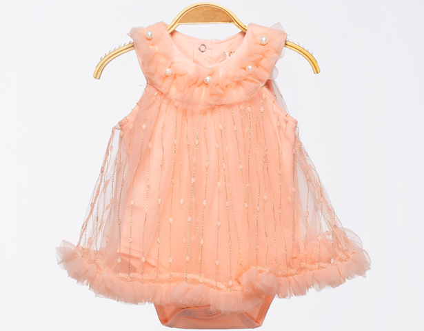 Baby Girl Fancy Romper - Peach