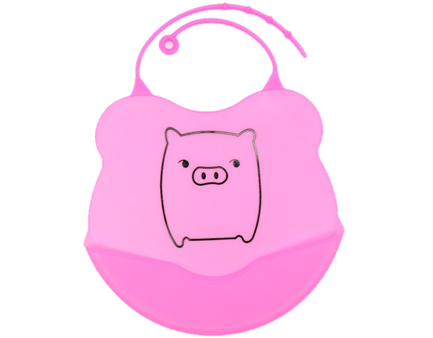 Baby Meal Pocket Silicone Bib Pink