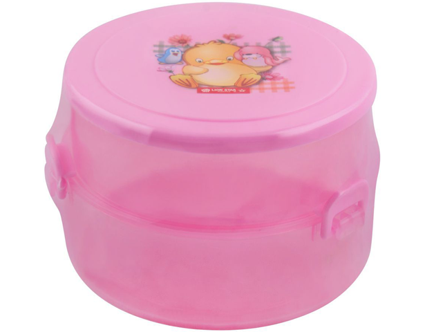 Lion Star Round Pop Lunch Box -Pink