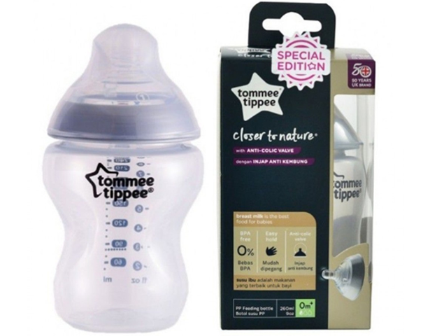 Tommee Tippee CTN Tinted Feeding Bottle 260ml Silver