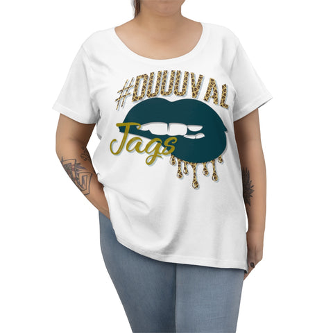 Jacksonville Jaguars inspired #Duuuval Football Dripping Lips Women's Curvy Tee