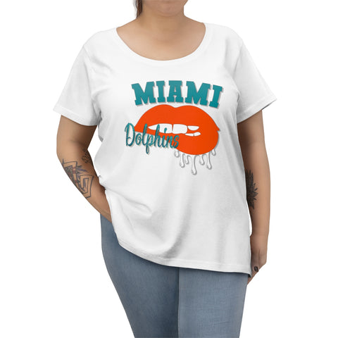 Miami Dolphins inspired Football Dripping Lips  Women's Curvy Tee