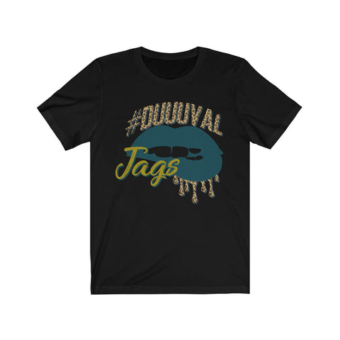 #Duuuval Jacksonville Jaguars inspired Football Dripping Lips Unisex Jersey Short Sleeve Tee