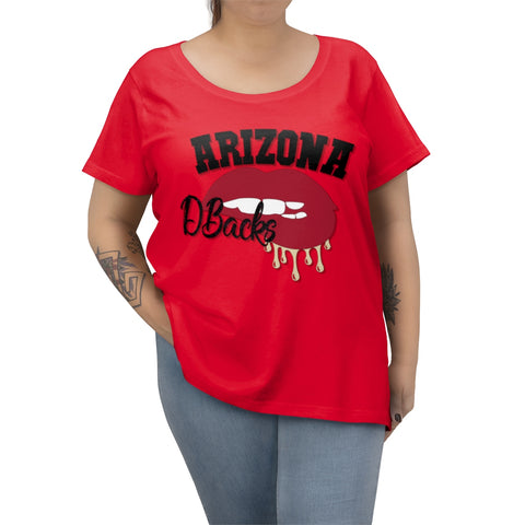 Arizona Diamondback inspired Baseball Dripping Lips Women's Curvy Tee - Current Colors