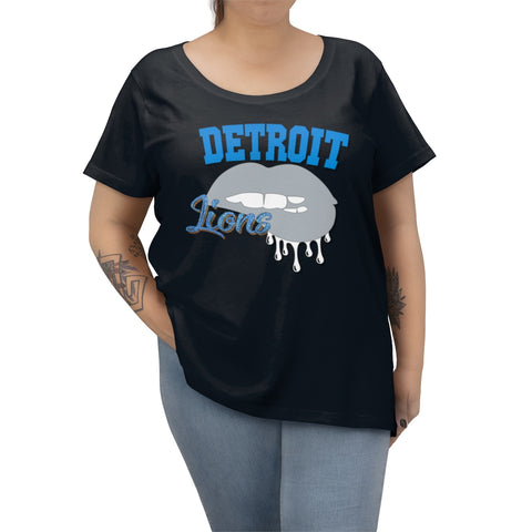 Detroit Lions inspired Football Dripping Lips  Women's Curvy Tee