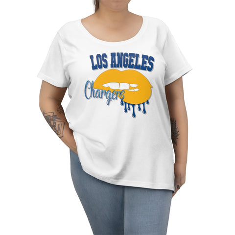 Chargers inspired Football Dripping Lips  Women's Curvy Tee