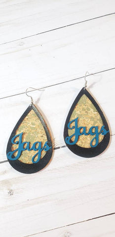 Jacksonville Jaguars inspired Faux cork & leather earring with metallic accents