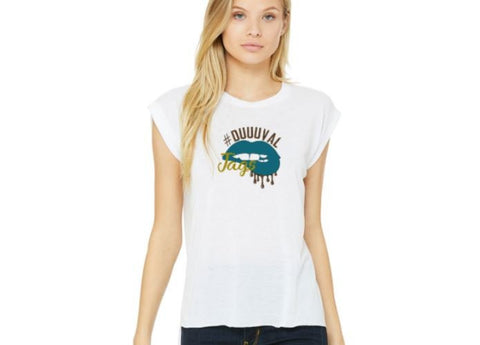 Football Dripping Lips #Duuuval Jacksonville Jaguars inspired women's muscle tee
