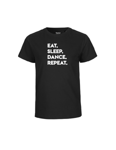 'Eat. Sleep. Dance. Repeat.' shirt voor kinderen