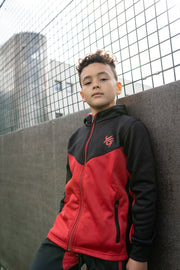 Tech Panel Tracksuit Black & Red