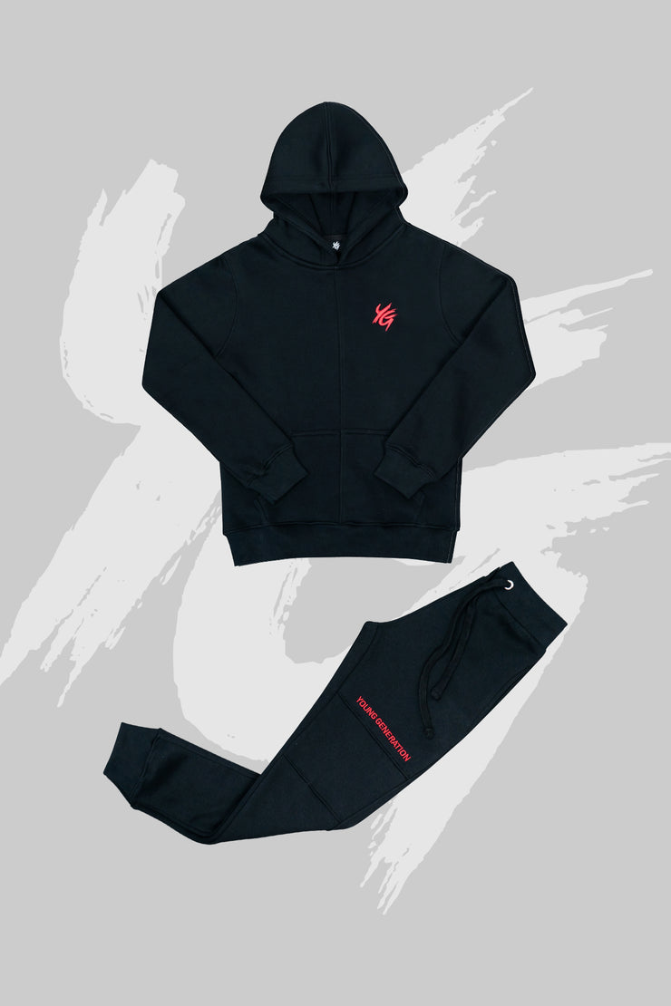 Essential Tracksuit Black & Red