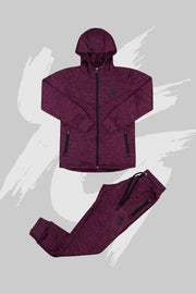 Tech Panel Tracksuit Marl Maroon