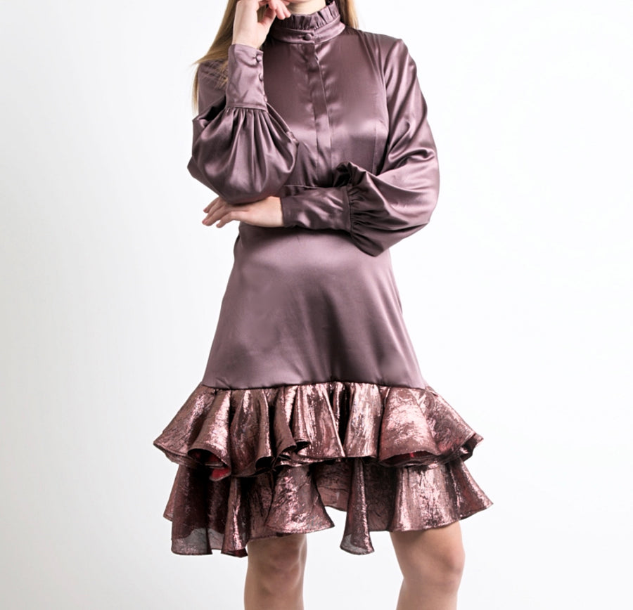 Long-sleeve Silk Midi Dress