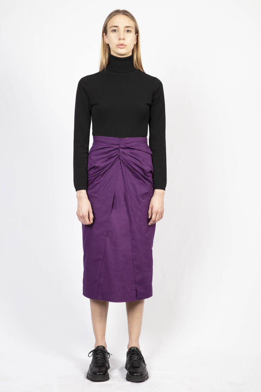 Draped Cotton Skirt/Turtle Knit Dress