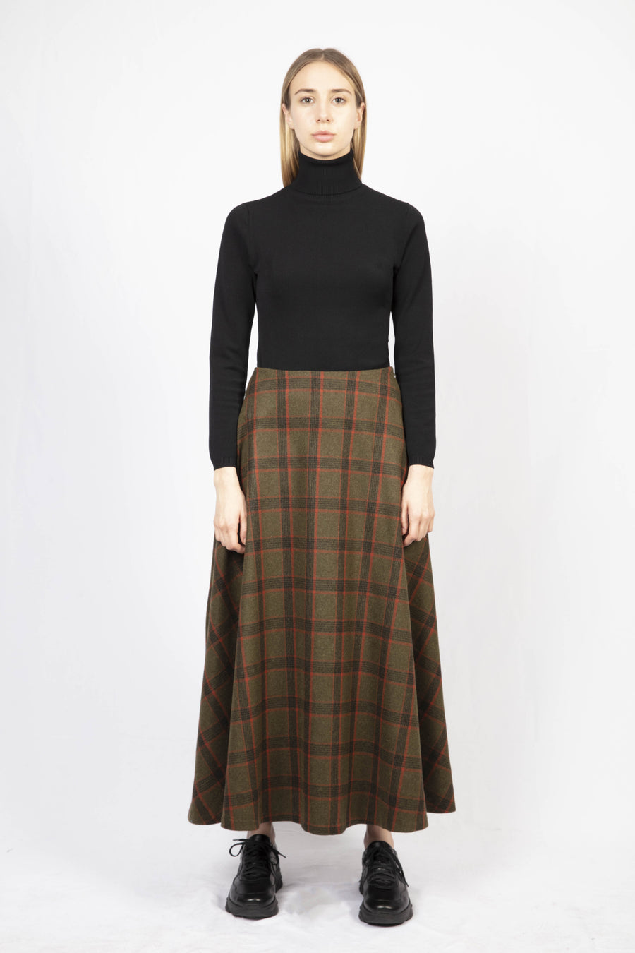 Check Print Woolen Maxi Skirt/Turtle Neck Knit Dress