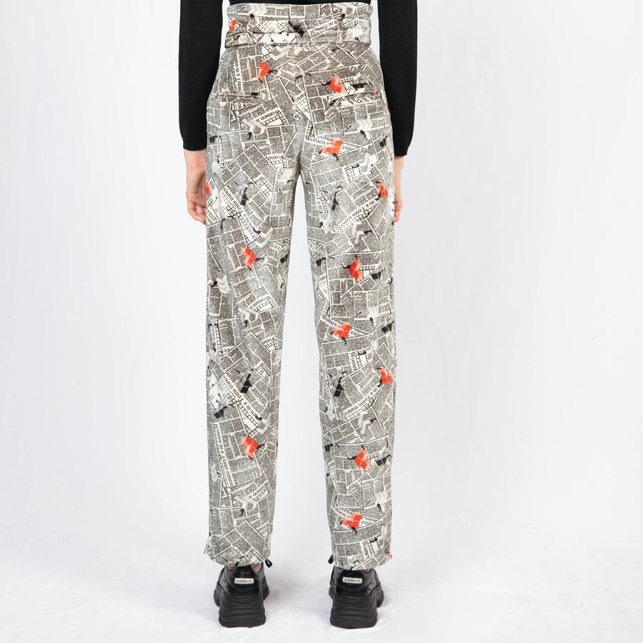 Printed High-waisted Tailored Pants