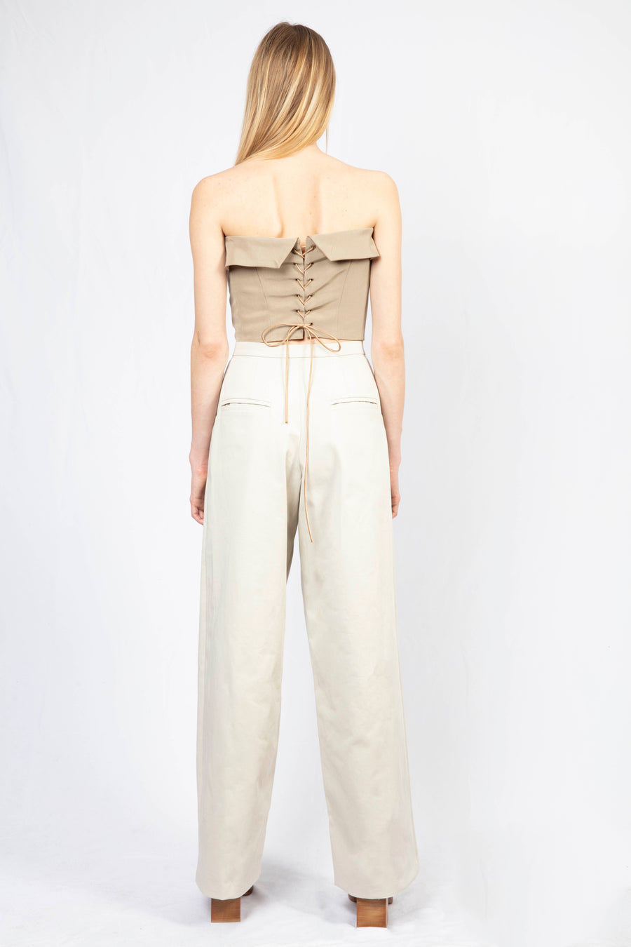 Panelled Bustier Top/High-waisted Tailored Pants