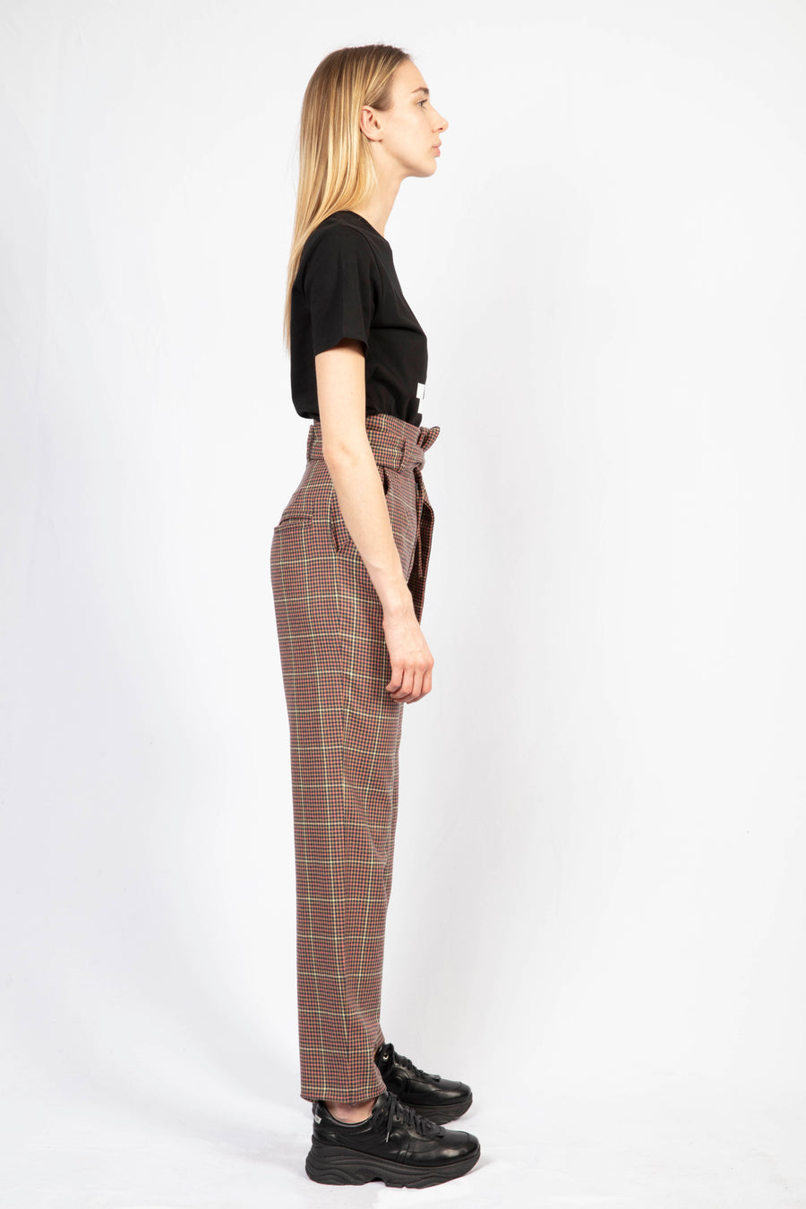 Print T-shirt/High-Waisted Tailored Pants