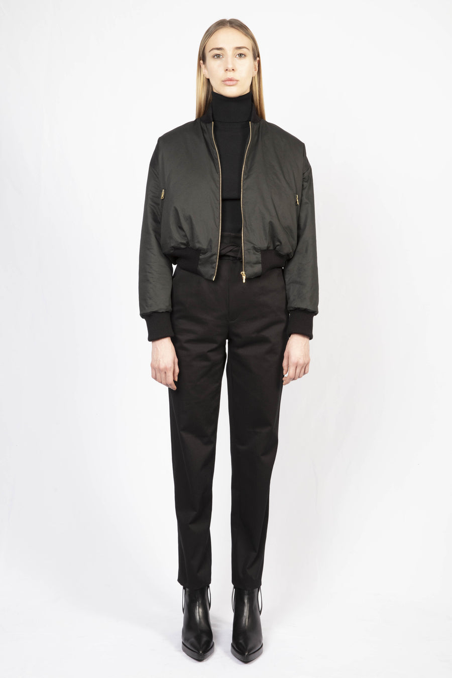 Bomber Jacket/High-waisted Tailored Pants