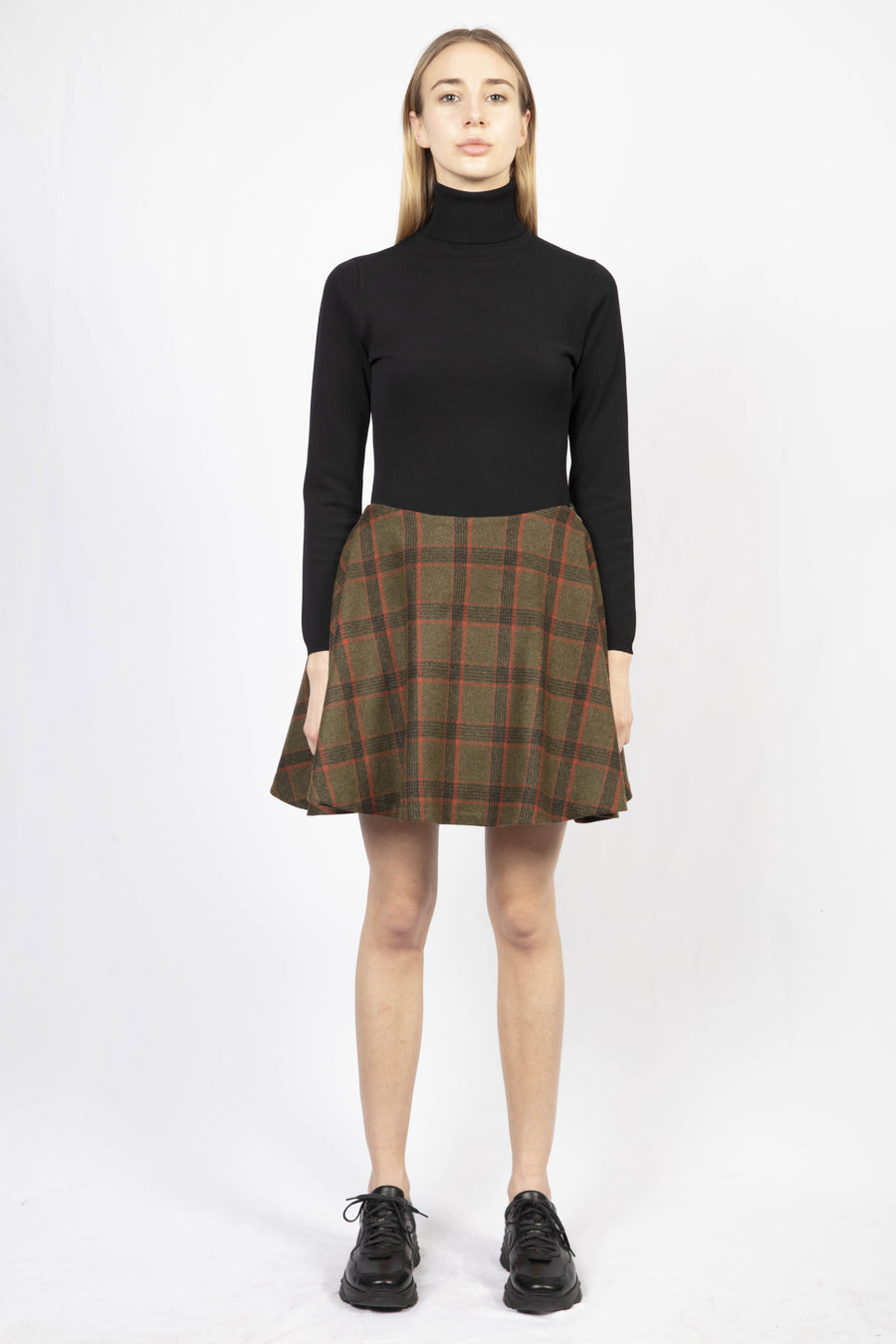 Checked Flared Mini Skirt/Turtle Neck Knit Dress