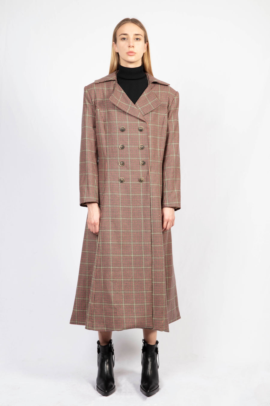 Collared Coat/Turtle Neck Knit Dress